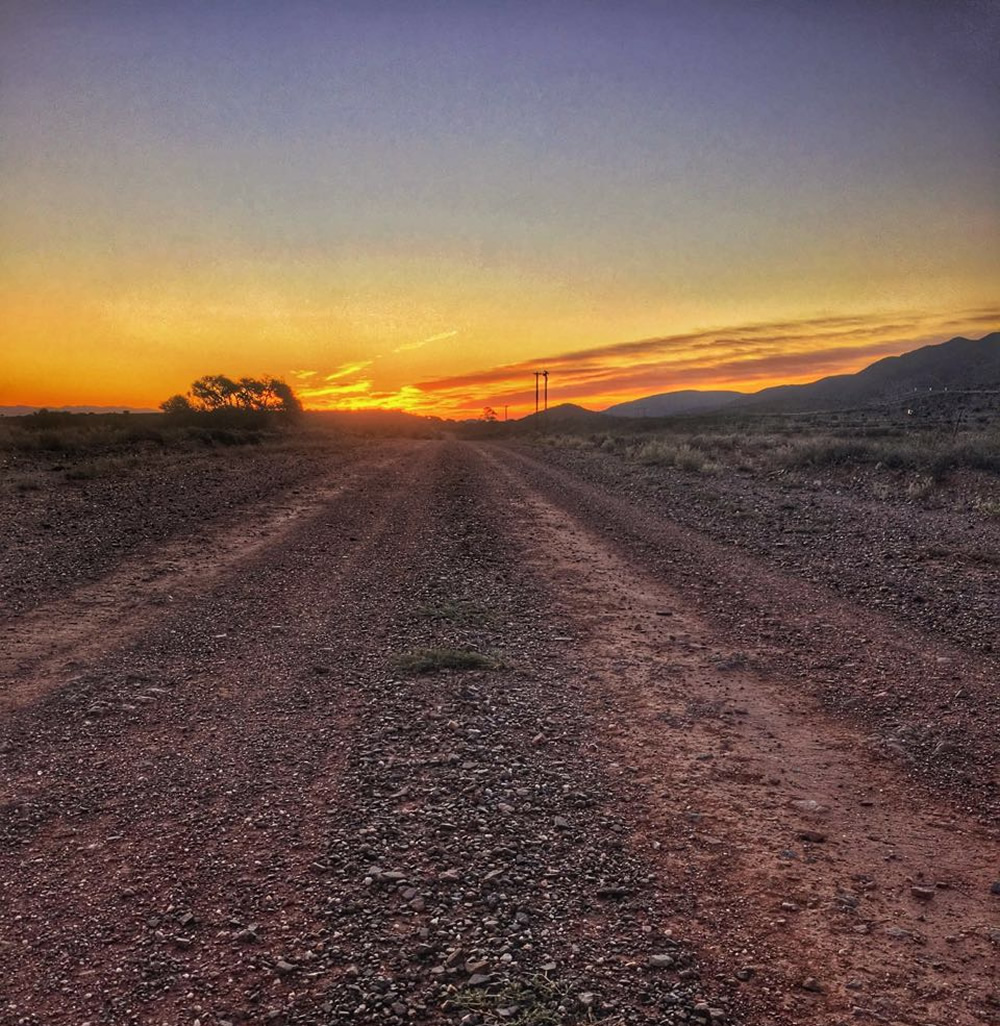 Gravel road and gorgeous sunset in Steytlerville